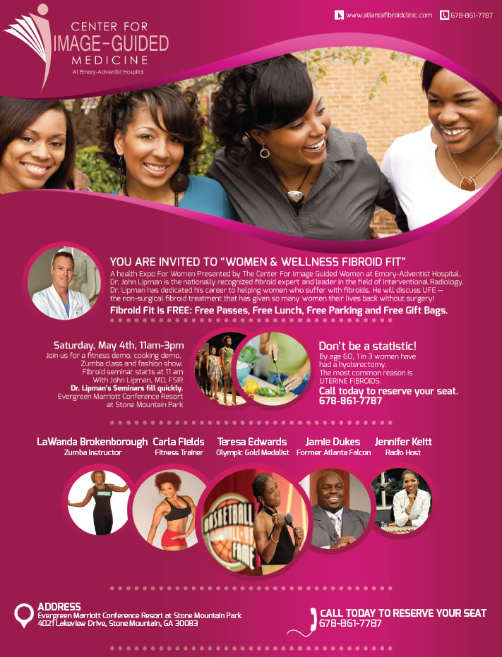 Flyer Invitation Graphic Design Women Wellness Fibroid Fit